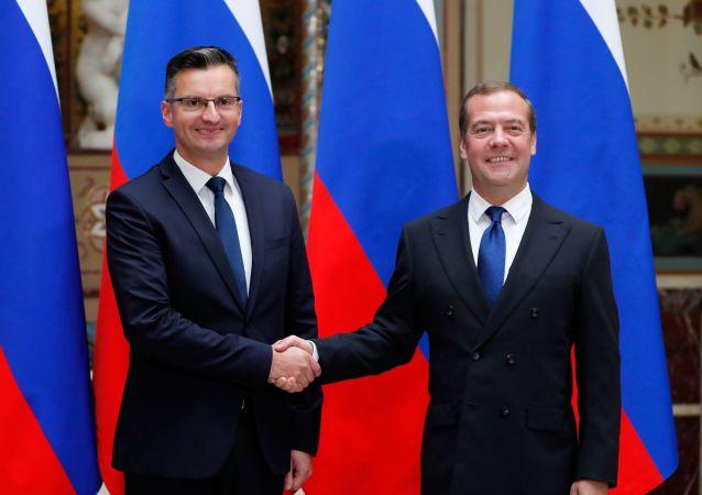 俄罗斯总理梅德韦杰夫与斯洛文尼亚总理沙雷茨