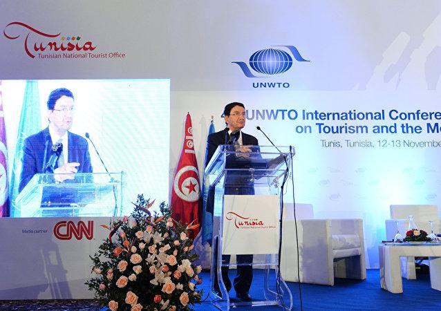 联合国世界旅游组织前秘书长塔勒布·瑞法依在该组织第15届国际会议框架内举行的新闻发布会上