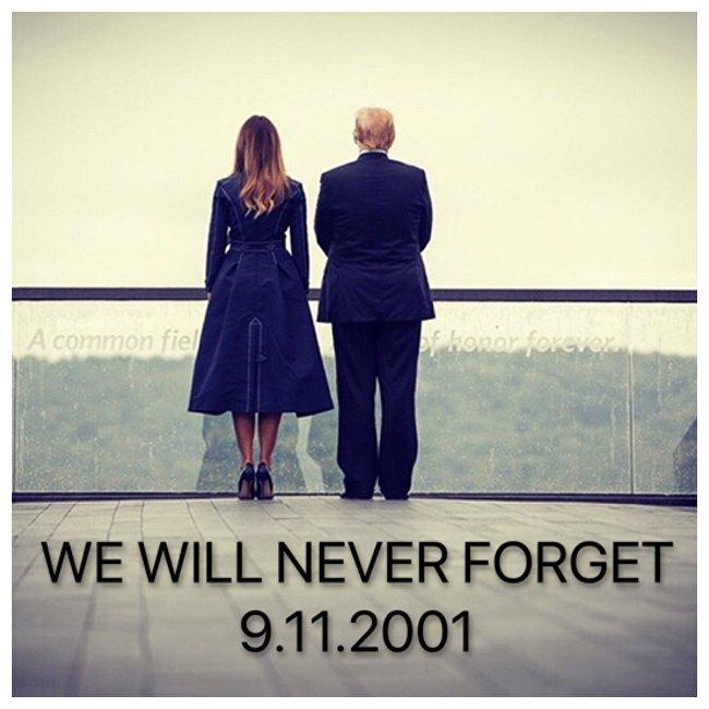 梅拉尼娅在911恐袭周年所穿的大衣激怒美国人