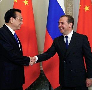 俄羅斯總理梅德韋傑夫與中國國務院總理李克強舉行會晤