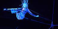 """大马戏团""""UFO,来自另一个星球的马戏""""的演出中在高空秋千上的空中体操表演者科谢尼亚?叶尔金娜"""