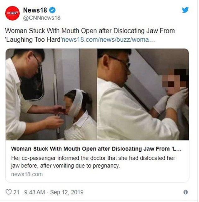 一中国女子在火车上大笑致下巴脱臼