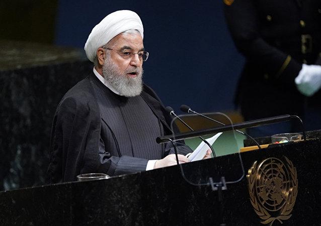 伊朗总统鲁哈尼在第74届联大会议期间发言