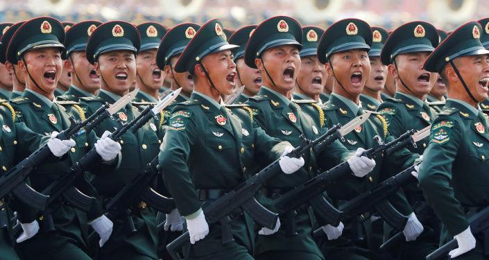 参加中国70周年国庆阅兵的中国解放军战士