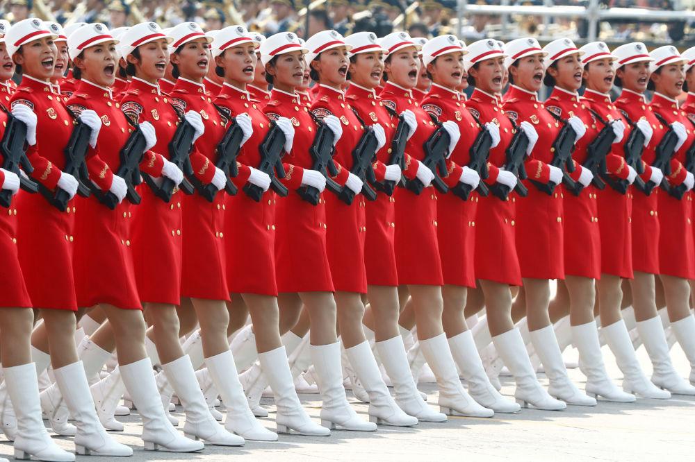 参加中国70周年国庆阅兵的民兵