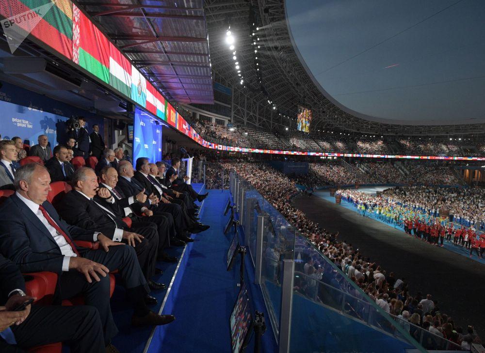 2019年6月30日,俄罗斯联邦总统普京在明斯克举行的第二届欧洲运动会闭幕式上。
