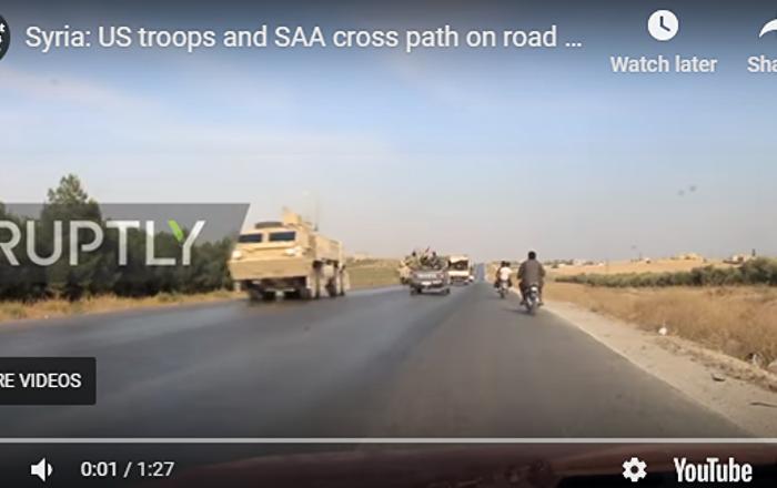 叙军车队与撤退美军相遇