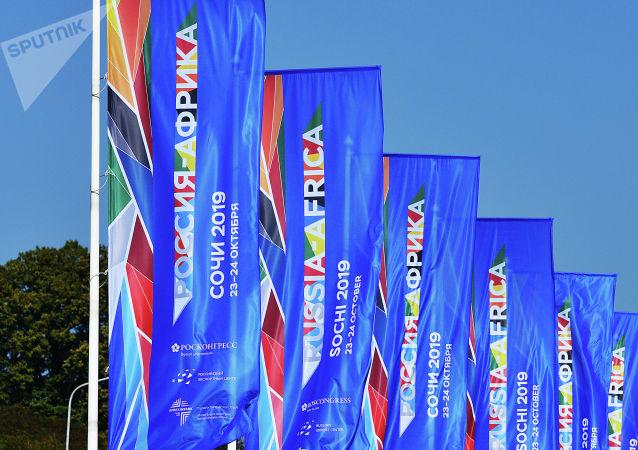 Флаги с символикой экономического форума и саммита Россия – Африка