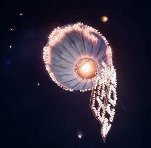 """在缅甸""""光明节""""(热气球节)上放出灯笼"""
