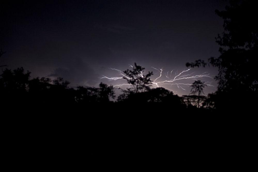 利比里亚萨波国家公园上空的雷暴