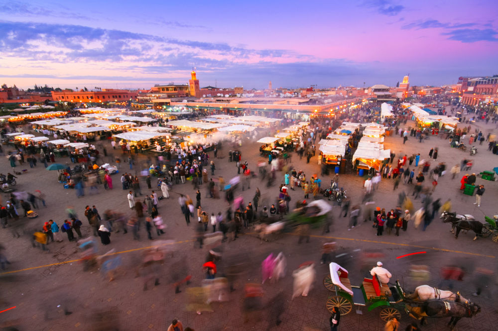 摩洛哥马拉喀什的广场集市