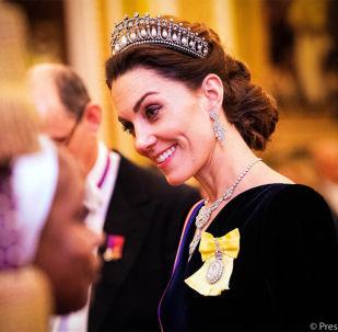 凯特王妃佩戴已故戴安娜王妃头冠参加白金汉宫接待会