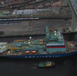 俄首艘「北極」號新型核動力破冰船進行試航